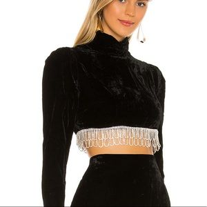 Camilla Coehlo Velvet Crystal Long Sleeve Crop Top